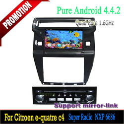 Hot selling Android 4.4.2 Quad Core 1 din 8 inch car dvd player with can-bus GPS navigation for Citroen C4 2012