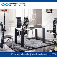 TB black tempered glass dining table and chair