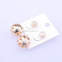 E250 Yiwu Market Wholesale 2015 Fashion Jewelry Big Crystal Stud Earrings Balls Double Faced Romantic Crystal Earrings For Women