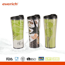 Hot Sale Double Wall Plastic Coffee Mug With Photo Insert And Lid