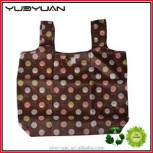 2015 Factory wholesale cheap dot printing fold up tote bag eco-friendly recycled polyester handbag foldable shopping bag