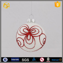 Hot sell 2015 new products hand painted red white hollow christmas glass ball decoration