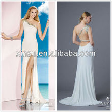 Perles de cristal décolleté sexy fente haute dos ouvert une épaule mode robes de soirée 2013