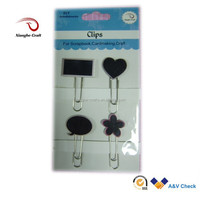 Mini wooden Chalkboard clips metal paper clip