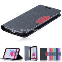 2015 Newest Leather Card Slot Flip Stand Phone Case For LG G3 D855 Silicon Back PU leather Cover for LG g3 with 9 colors