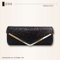 2015 Black party wedding shining ladies PU leather vogue clutch bag