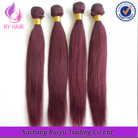 Red color 100% virgin soprano remy brazilian hair extensions
