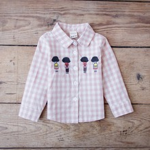 YD3001kids shirts and tops plaid cotton casual girl shirts