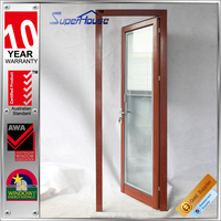 strong and durable wooden grain aluminium french door with low threshold