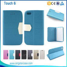 Hot Selling Mixed Colors Leather Flip Case for iPod Touch 6, For Apple iPod Touch 6 Case