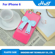 Cute Back cover with bowknot headphone winding cell phone case for iPhone 6
