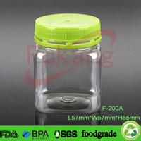 Honey Packing Jar,200g Tamperproof Plastic Food Bottle Tubs for Nuts,Pet Sqaure Bottle Alibaba Supplier