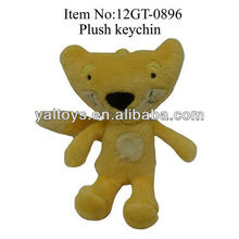 9cm yellow fox plush toy keychain,stuffed wild animal keychain