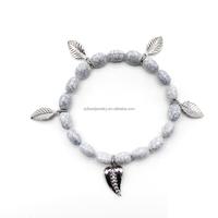 marble effect imitation turquoise stone bracelet with pendants