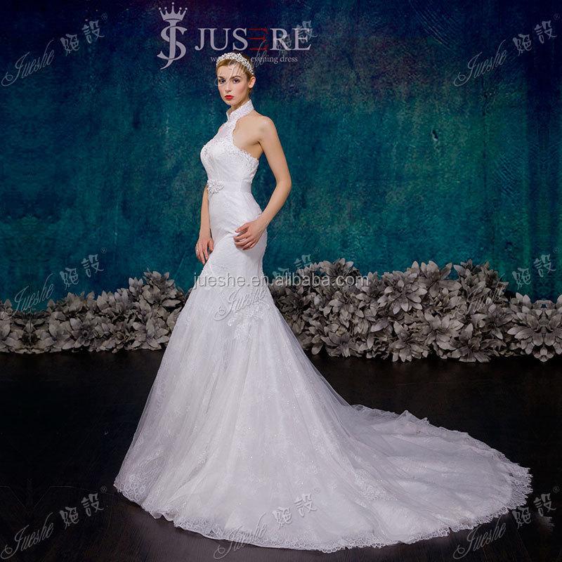 2015 New Design Sleeveless Backless High Neck Halter Wedding Dress ...