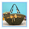 2014 fashion hot sale green crochet lady beaded handle large straw beach bag handbag with bowknot china factory