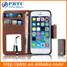 Set Screen Protector Stylus And Case , Brown Detachable Wallet Leather Case For Iphone 5