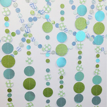 Blues and Greens Paper Garland paper circles garland for baby shower party