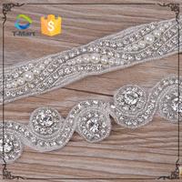 Rhinestone Applique Trimming Crystal Appliques For Wedding Dresses/Embellished Applique Designs