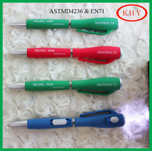 High quality black/blue ink ball pen with led torch