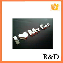3D Letters Chrome Plate Badge Emblem I Love My Car Design For Auto Trunk Sticker Embleme Decal Nameplate