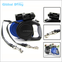 LED Light Retractable Dog Pet Leash with Waste Bag Dispenser