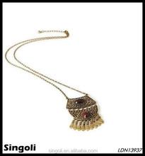 wholesale fashion lont antique brass ethnic natural stone fringe necklace