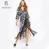 2015 OEM Kimono Wrap Dress In Floral Print With Fringing for Women