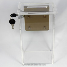 custom wholesale acrylic donation box/acrylic box with key and lock