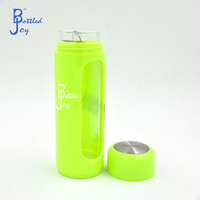 360ml borosilicate glass bottle water bottle drink bottle with silicone band