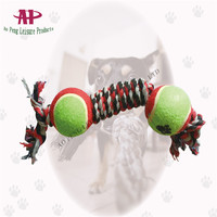 Wholesale Toys 2015 New Dog Cotton Rope Toys with Tennis Balls