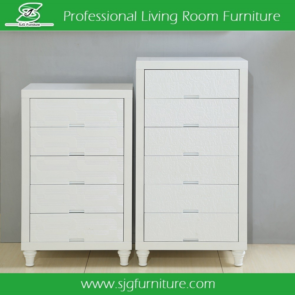 French Style Furniture 5 Drawers White Living Room Cabinet
