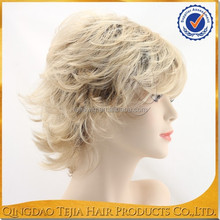 Hot sale two tone blonde kanekalon synthetic short wig for white women