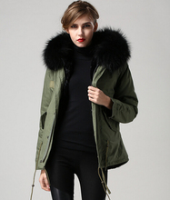 Ladies coat with fur hood parka jackets with fur lining
