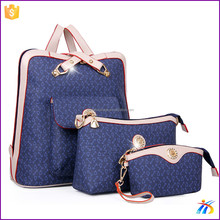 Hot sale unique style blue girls fashion 3pcs one set tote bag fancy ladies side bags