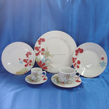Good quality modern ceramic home ware crockery sets, round royal porcelain china dinnerware set with grace ornate flower decal