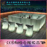 Simple Design Outdoor Bar Furniture,16 Colors LED Table and Chairs,Commerical LED Bar Counter with Free Combination