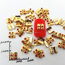 DIY golden red rhinestone 3d nail art supplies lucky nail charms