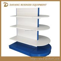 Hot sell OEM supermarket island gondola shelf racks with round end