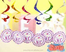 Pink Ice cream Hanging Swirl Decor Baby Shower Decorations