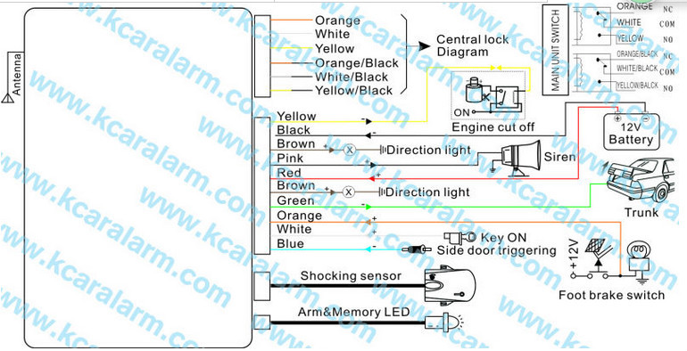 One Way Car Alarm System With Built-in Central Locking Relay