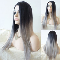 Silk Straight Silver Grey Synthetic Lace Front Wig Glueless Ombre Tone Color Natural Black And Grey Heat Resistant Hair Wigs