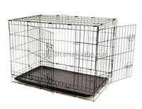 Large 2 Door Pet Kennel Cage Folding Portable Travel Metal