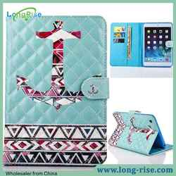 Newest Stitching Grid Painting Anchor Pattern Leather Flip Phone Cover for iPad 4 Case