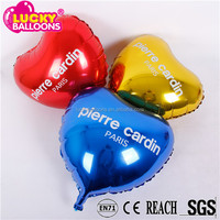 China custom factory EN71 quality 18inch heart shape printed promotion foil balloon