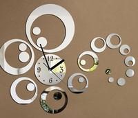 Creative DIY circle acrylic mirror wall clock fashion simple living room home decoration wedding gift watches mute clock