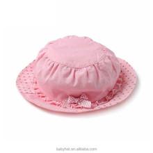 Summer beach children kids baby girls folding flat top ruffles bow sun bucket hat