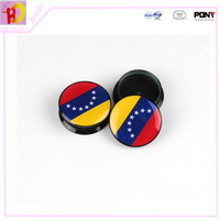 2015 new arrival The national flag series Venezuela Mixed 10 size 1 pair round resin of Ear Tunnels Gauges Plugs piercing body
