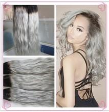 Stock! Hot sale 3pcs/lot virgin Brazilian human hair ombre color wave hair weaves dark root grey hair
