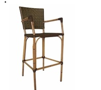 Outdoor Garden Furniture Restaurant Bamboo Like Wicker Chair with Footstool
